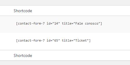 Aparência do shortcode dos formulários do contact form 7 no wordpress
